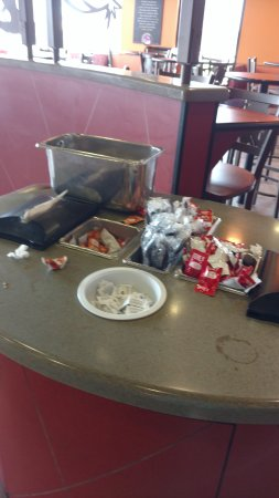 Perry, MI: salsa station mess!