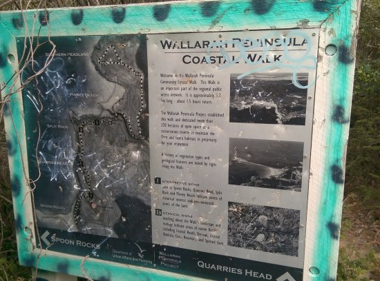 Cams Wharf, Austrália: One of the badly knocked about signs