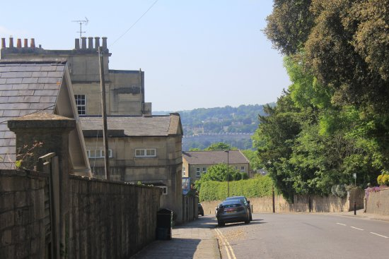 YHA Bath: The road outside/walk to town. Buses stop here frequently.