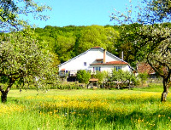 Franco Condado, Francia: View on B&B A-Rigaud from the camp-site