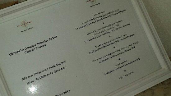 Pierrefeu-du-Var, Frankrig: menu Ducasse