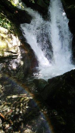Tatsugaiwa Water Fall: 高千穂の真名井の滝は期待はずれだったので、 地図でたまたま見つけた竜ヶ岩の滝へ。 駐車場から川沿いの道(正しくは登りの階段)を300メートル歩きましたが、結構な登りでいい運動になりました( ̄▽