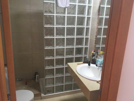 badkamer met inloopdouche, toilet, wastafel met grote spiegel ...