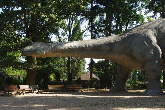 DinoPark Plzeň: posezení pod brontosaurem