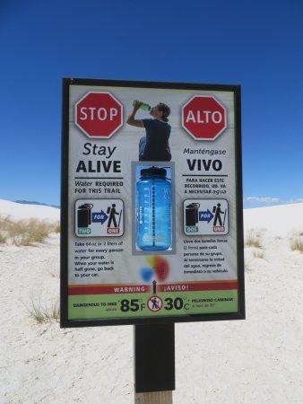 Alkali Flat Trail: Advisory sign at the trailhead. BRING WATER.