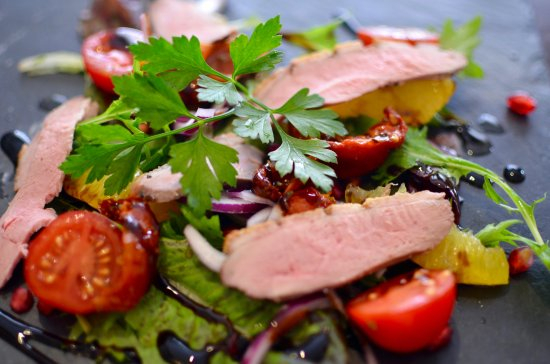 Home smoked duck breast with pomegranate