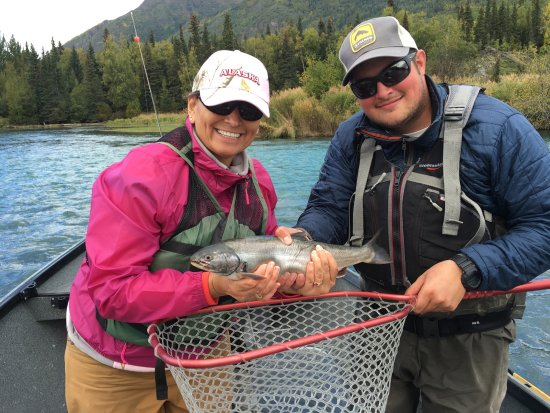 Hope, AK: The fish was slippery and Jake had to help me hold him for a picture.