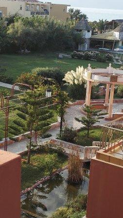 Orpheas Resort: Aussicht in den Garten (voller wird es da wirklich nicht :-)
