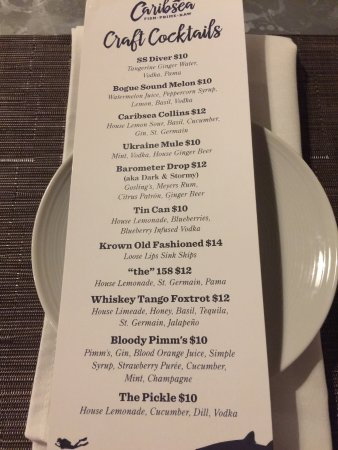 Cocktail Menu - Picture Of Caribsea, Emerald Isle - Tripadvisor