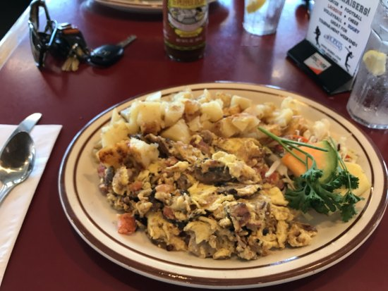 Hobee's: Fantastic chicken apple sausage scramble with hash browns  this time, not coffee cake.