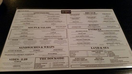 2520 Tavern: The menu.