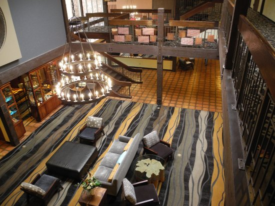 The Valley River Inn: A sample of the artful design throughout the lobby and fireplace lounge on the ground floor.