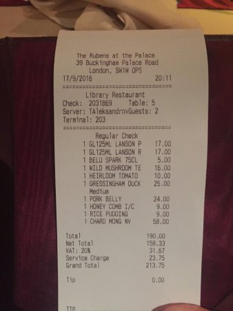 The Library : Be aware of the automatic service charge of 12.5%, and they still expect a tip!