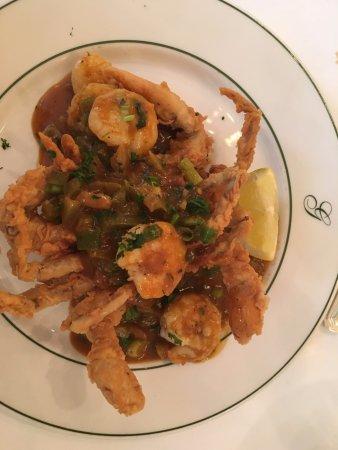 Galatoire's Restaurant: Fried soft shell crab topped with shrimp Etouffe