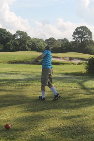 Palm Bay, FL: Little Brother teeing off with a good swing