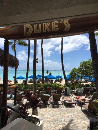 view of Waikiki Beach from Duke's