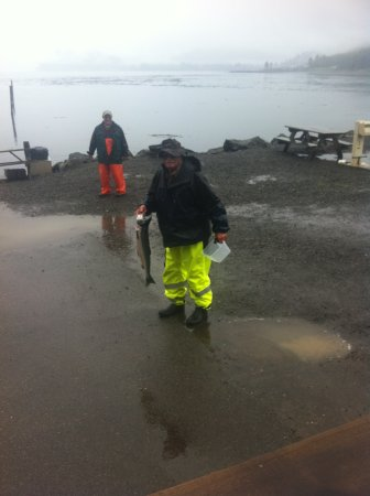 Van Riper's Resort: Morning fishermen with coho salmon
