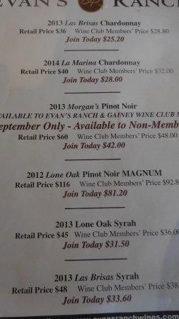 Los Olivos, Californie : Evan's Ranch's Wine List