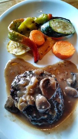West Jefferson, NC: Local grass-fed chopped steak with grilled veggies.