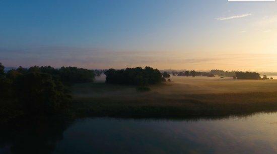 Gottlieben, Suiza: Aussicht vom Hotel aus am frühen Morgen