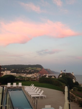 Sidmouth Harbour Hotel - The Westcliff: View from terrace bar - sunset