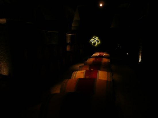 Kaiken Winery: Atmospheric Kaiken wine cave, with Gregorian chants