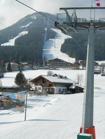 Rohrmoos-Untertal, Austria: View from the nearby chairlift with the Hochwurzen mountain in the background