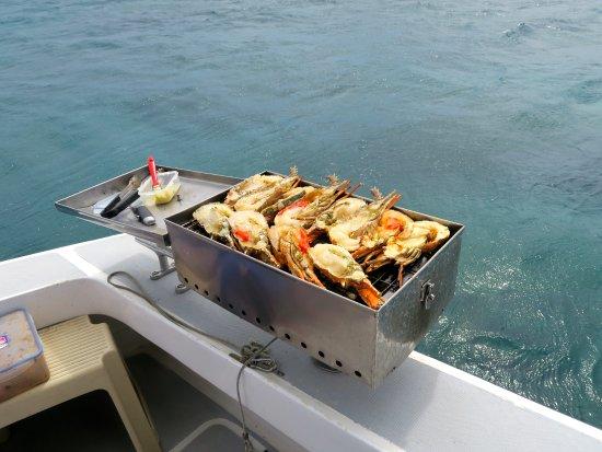 Grande Riviere Noire: langoustes preperées par l équipage