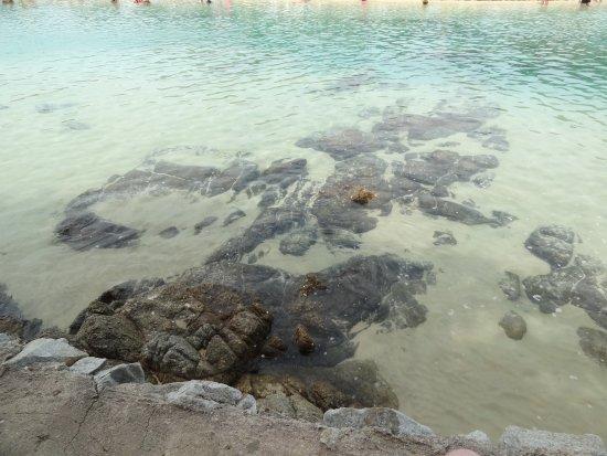 Rawai, Tajlandia: Glasklares Wasser. Die Steine sind Morgens noch nicht mit Wasser bedeckt