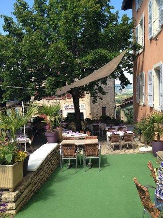 Pommiers, Francia: La sympathique terrasse ombragée.... Très agréable !