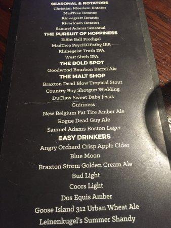 Bar Louie: carta de cervejas