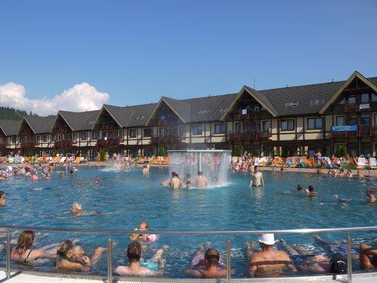 Bešeňová, Slowakije: view from the pool