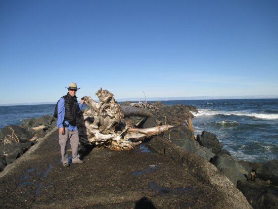 On the jetty at Coquille River Lighthouse