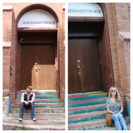 Jerome, AZ: My so and I on the same steps months apart !