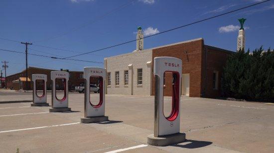 Shamrock, TX: Tesla charging stations behind the building