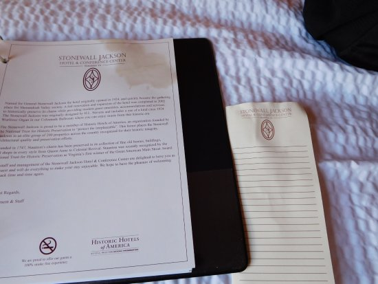 Staunton, VA: The stained hotel book and writing papers in our room, gross
