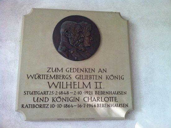 Bebenhausen, Tyskland: Gedenktafel an Württembergs König Wilhelm II und seine Frau