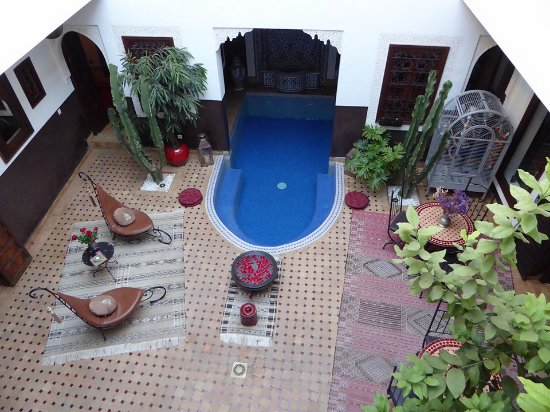 Riad Charme d'Orient: The dipping pool, taken from the 1st floor balcony outside our room