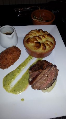 Stowmarket, UK : Trio of Lamb shepherds pie, roasted lamb and shredded lamb crockette