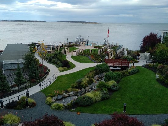 The dramatic views from the Oak Bay Beach Hotel. Two outdoor Spas and a super - heated swimming
