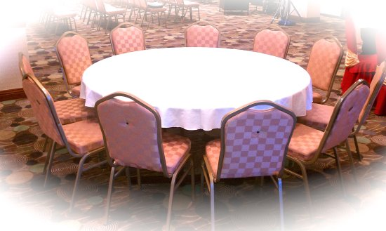 Prospect Heights, IL: Table with White table cloth  Decoration