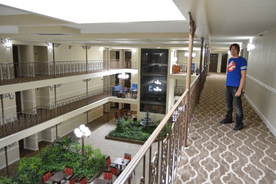 Comfort Inn Midtown: Looking down into the lobby/breakfast area. Photo by my wife. :)