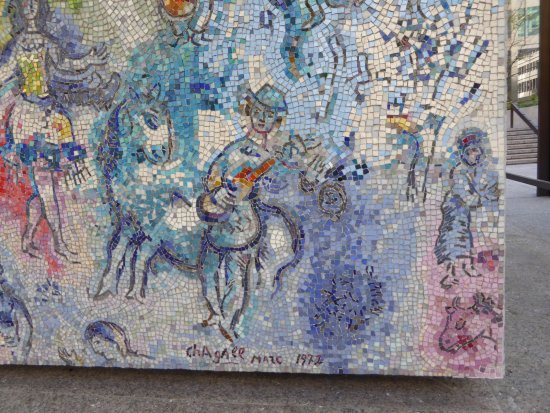 Marc chagall mural picture of chagall 39 s four seasons for Chagall mural chicago