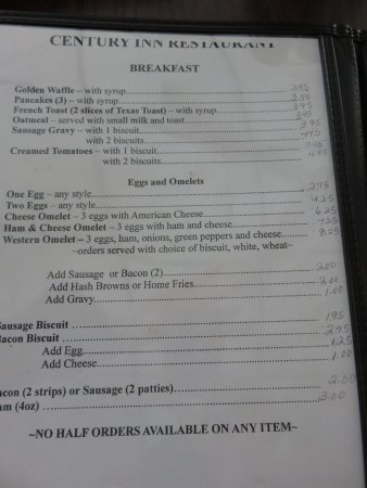 Sutton, Batı Virjinya: Breakfast menu