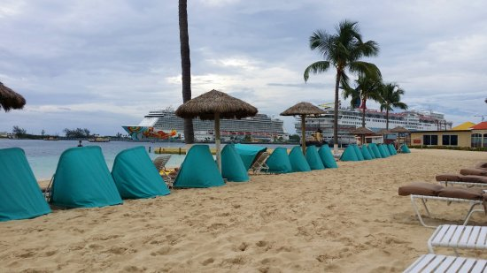 British Colonial Hilton Nassau: Canopy recliners on the hotel's beachfront.