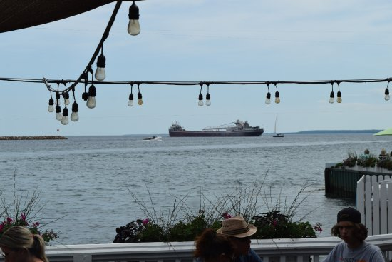Draught House and Mary's Bistro: Nice to see a freighter passing by