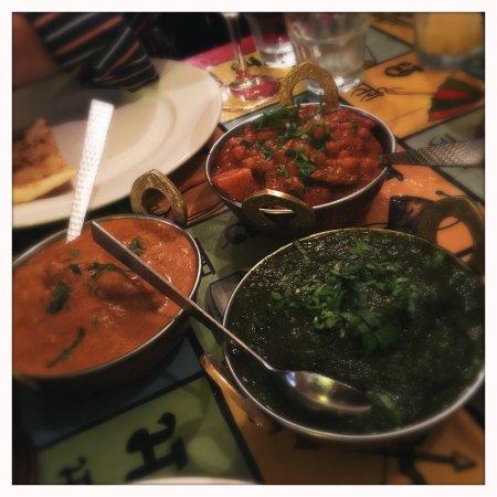 Indiyum Fair Dinkum Indian: Chicken Korma, Lamb Saag, & Chickpea and Potato Curry.