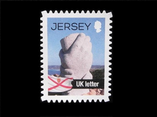 Corbiere Lighthouse (La Corbiere): Memorial by Corbiere Lighthouse on a Jersey stamp. Jersey