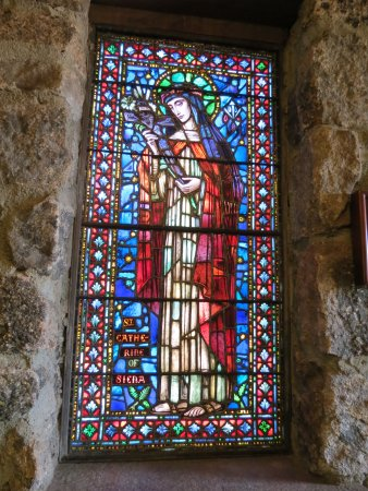 Allenspark, CO: stained glass window depicting Saint Catherine of Siena