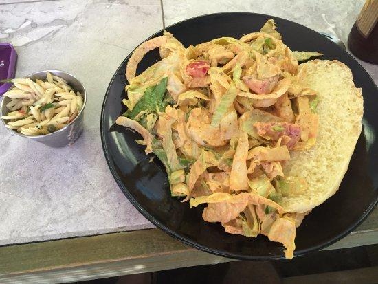 Front Royal, VA: The Shrimp Po Boy looks messy but it sure is good!